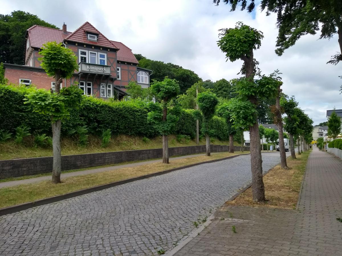 Eine ruhige Seitenstraße in Binz mit schönen Häusern