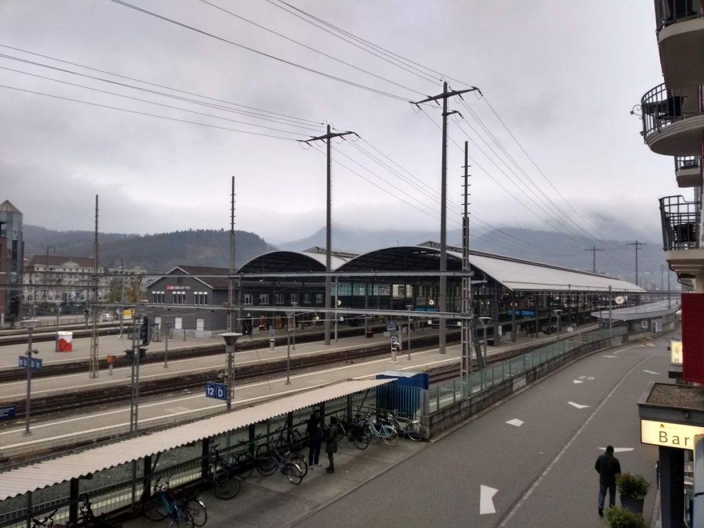 Bahnhof in Olten vom Hotel Amaris aus gesehen